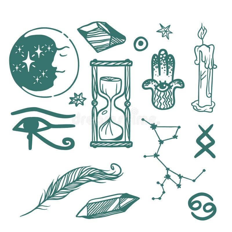 Los símbolos esotéricos del vector de moda bosquejan magia dibujada mano de la ciencia de la química del ocultismo de la espiritu stock de ilustración