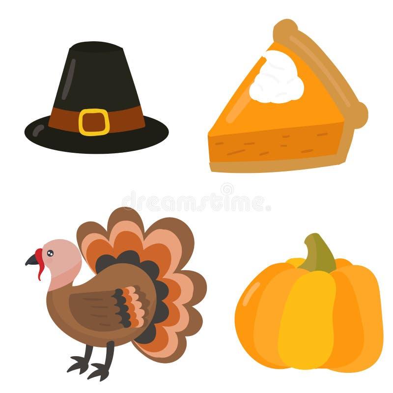Los símbolos felices del día de la acción de gracias diseñan el ejemplo del vector de la estación del otoño de la cosecha de la c ilustración del vector