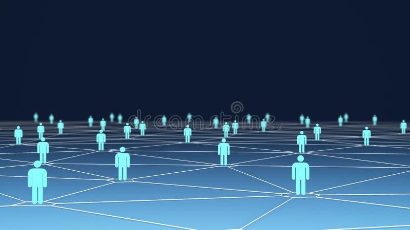 Los símbolos grandes del grupo de personas con la conexión alinean en azul libre illustration