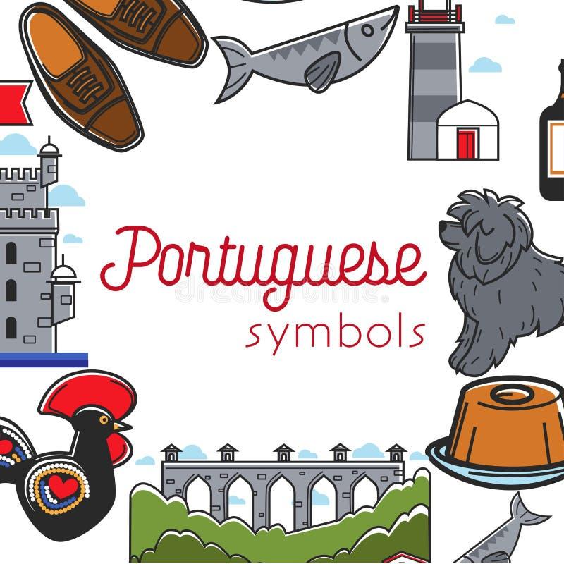 Los símbolos portugueses viajan a la cultura de Portugal y a viajar del turismo libre illustration