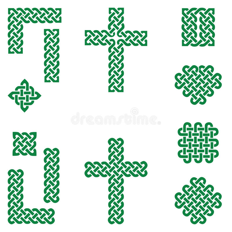 Los símbolos sin fin de estilo celta del nudo incluyendo la frontera, línea, corazón, cruz, los cuadrados curvy en bandera irland stock de ilustración