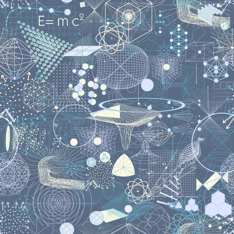 Los símbolos y los elementos sagrados de la geometría wallpaper el modelo inconsútil ilustración del vector