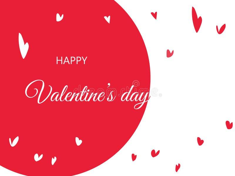 Los saludos felices del día del ` s de la tarjeta del día de San Valentín con el corazón dibujado mano forman imágenes de archivo libres de regalías