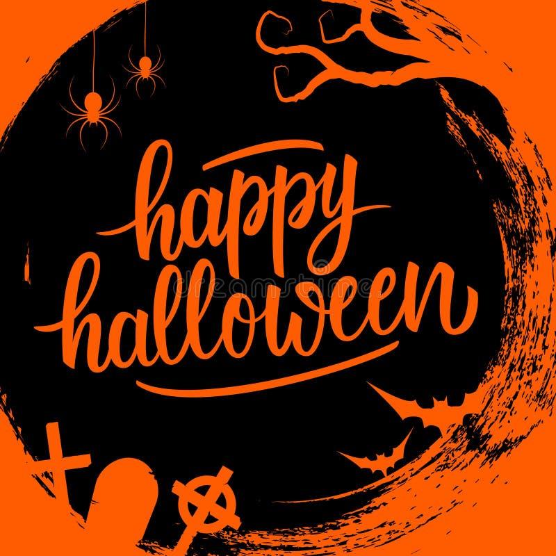 Los saludos manuscritos del día de fiesta de las letras del feliz Halloween en círculo cepillan el fondo del movimiento con símbo stock de ilustración