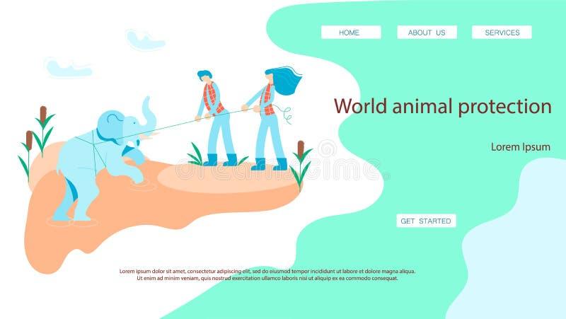 Los salvadores sacan un elefante de un hoyo ilustración del vector
