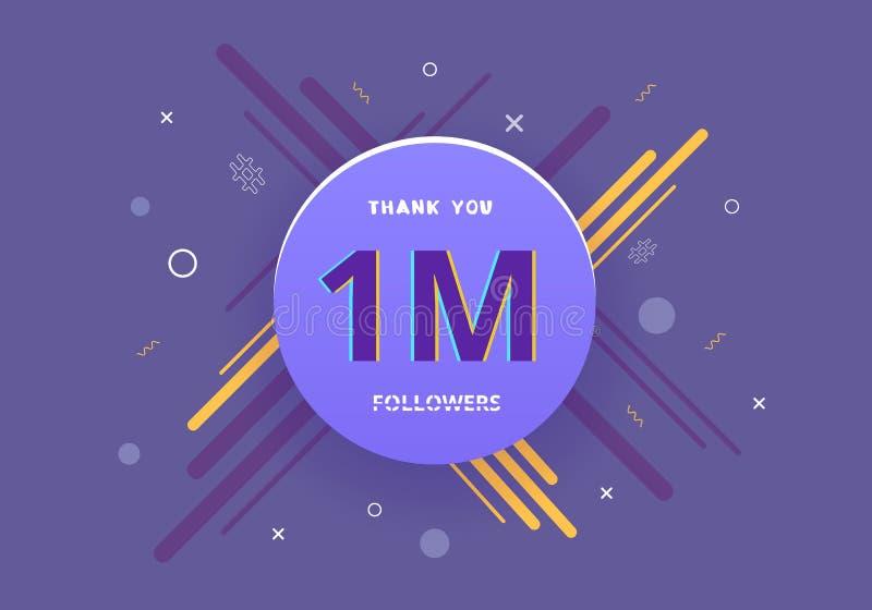 los seguidores del 1M le agradecen fijar por medios sociales Ilustración del vector ilustración del vector