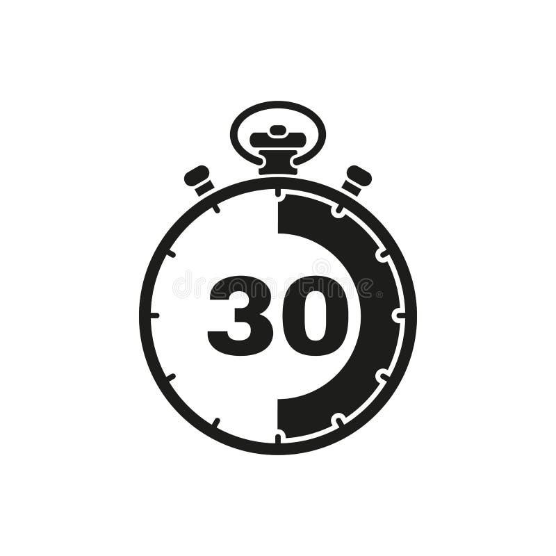 Los 30 segundos, icono del cronómetro de los minutos Reloj y reloj, contador de tiempo, símbolo de la cuenta descendiente Ui web  imágenes de archivo libres de regalías
