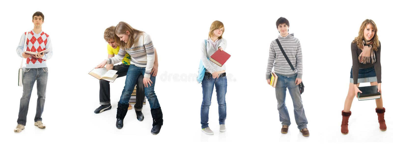 Los seis estudiantes jovenes aislados en un blanco fotos de archivo