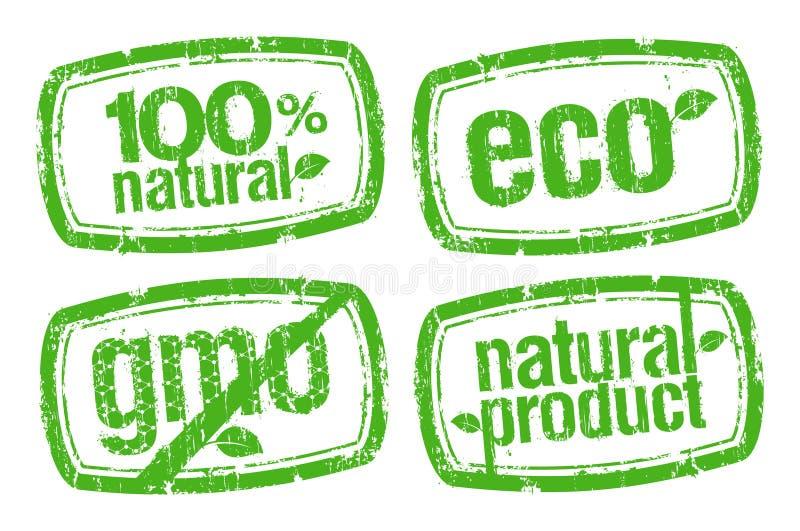 Los sellos de la ecología, GMO liberan. stock de ilustración