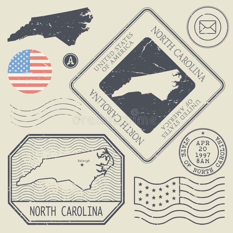 Los sellos retros del vintage fijaron Carolina del Norte, Estados Unidos ilustración del vector
