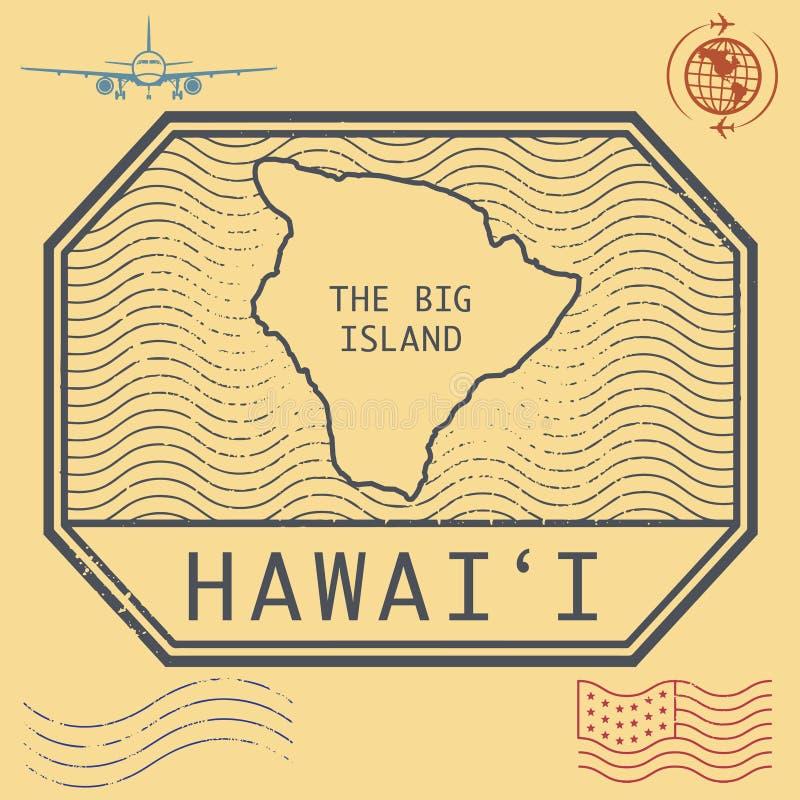 Los sellos retros del vintage fijaron Hawaii, la isla grande libre illustration