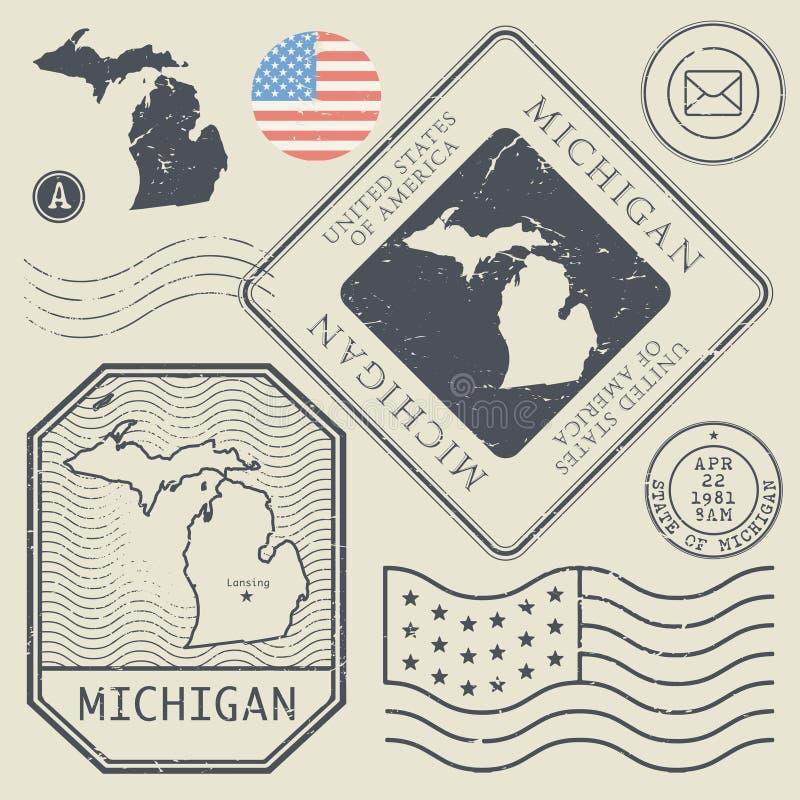 Los sellos retros del vintage fijaron Michigan, Estados Unidos libre illustration