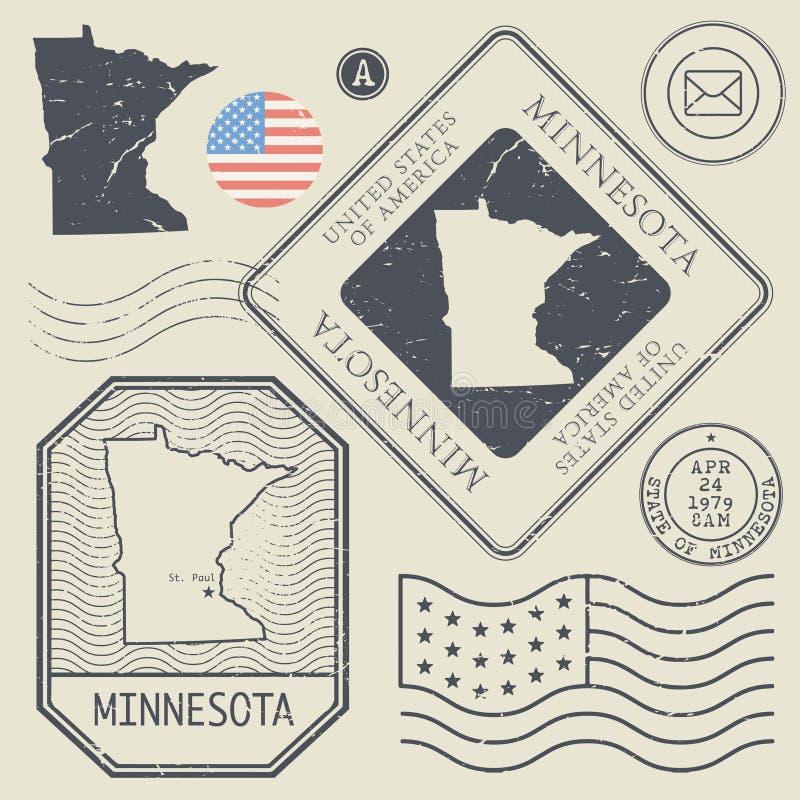 Los sellos retros del vintage fijaron Minnesota, Estados Unidos ilustración del vector