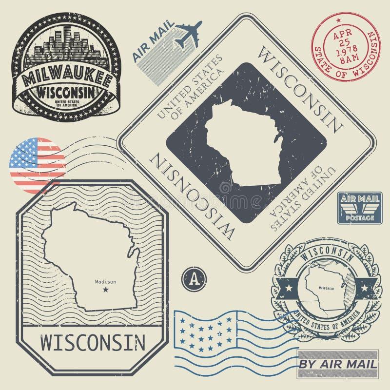 Los sellos retros del vintage fijaron Wisconsin, Estados Unidos stock de ilustración