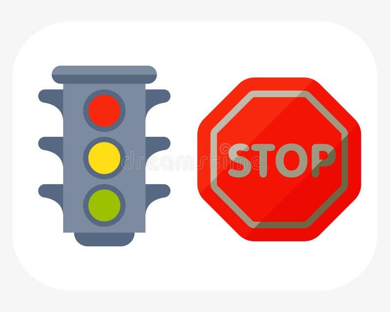 Los semáforos en la seguridad blanca del fondo y de la historieta paran el advertir de vector de señal urbano del peligro del tra stock de ilustración