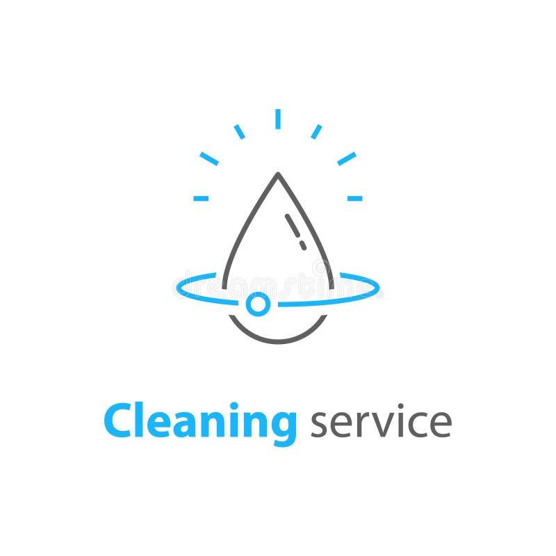 Los servicios caseros de la limpieza, logotipo de la reparación de la fontanería, higiene de la casa, vector el icono linear stock de ilustración