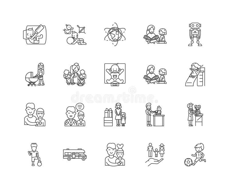 Los servicios de cuidado de niños alinean los iconos, muestras, sistema del vector, concepto del ejemplo del esquema libre illustration