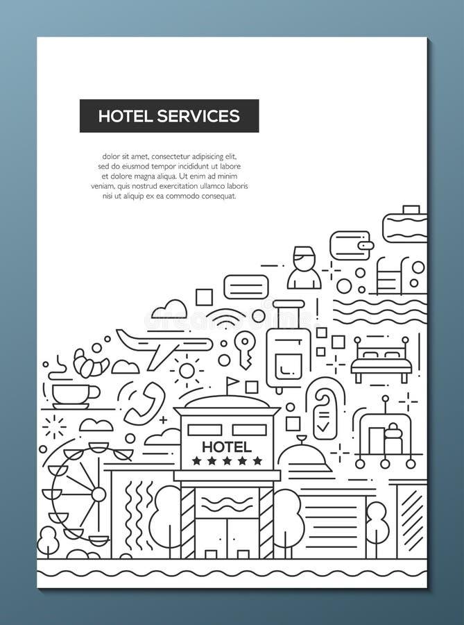 Los servicios de hotel - alinee la plantilla A4 del cartel del folleto del diseño stock de ilustración