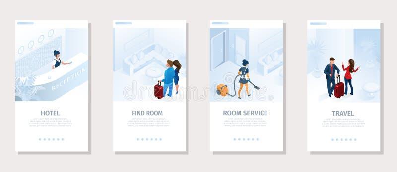 Los servicios de hotel viajan bandera social del vector medios ilustración del vector
