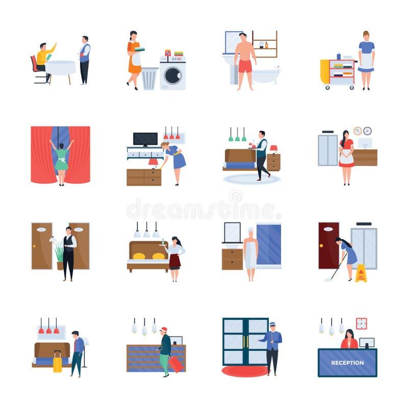 Los servicios de hotel y los iconos de la hospitalidad embalan stock de ilustración