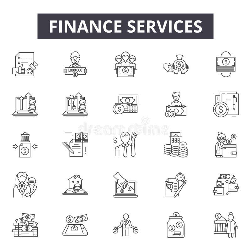 Los servicios de las finanzas alinean los iconos para la web y el diseño móvil Muestras Editable del movimiento Concepto del esqu stock de ilustración