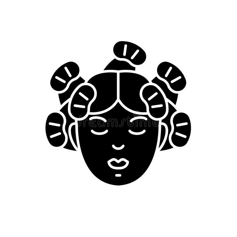 Los servicios del peluquero ennegrecen el icono, muestra del vector en fondo aislado Símbolo del concepto de los servicios del pe stock de ilustración