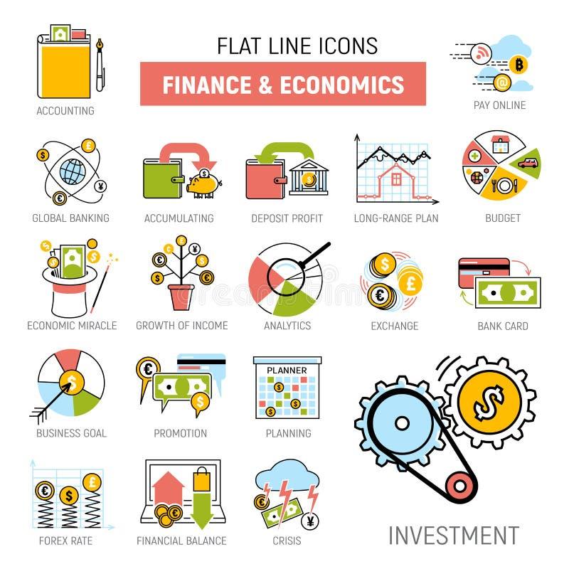 Los servicios financieros del dinero de actividades bancarias fijaron vector de la gestión de inversiones del banco de la acumula stock de ilustración