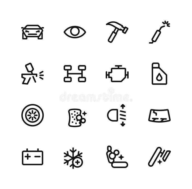 Los servicios para los coches fijaron iconos stock de ilustración