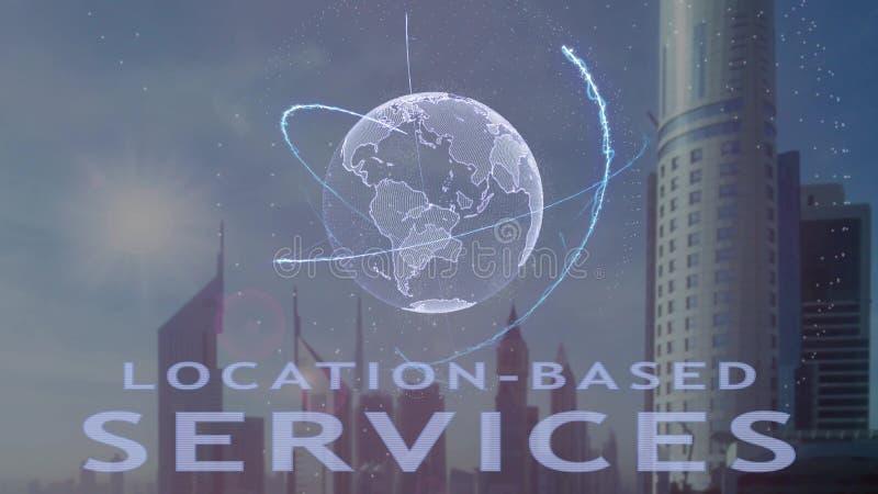 los servicios Ubicaci?n-basados mandan un SMS con el holograma 3d de la tierra del planeta contra el contexto de la metr?poli mod ilustración del vector