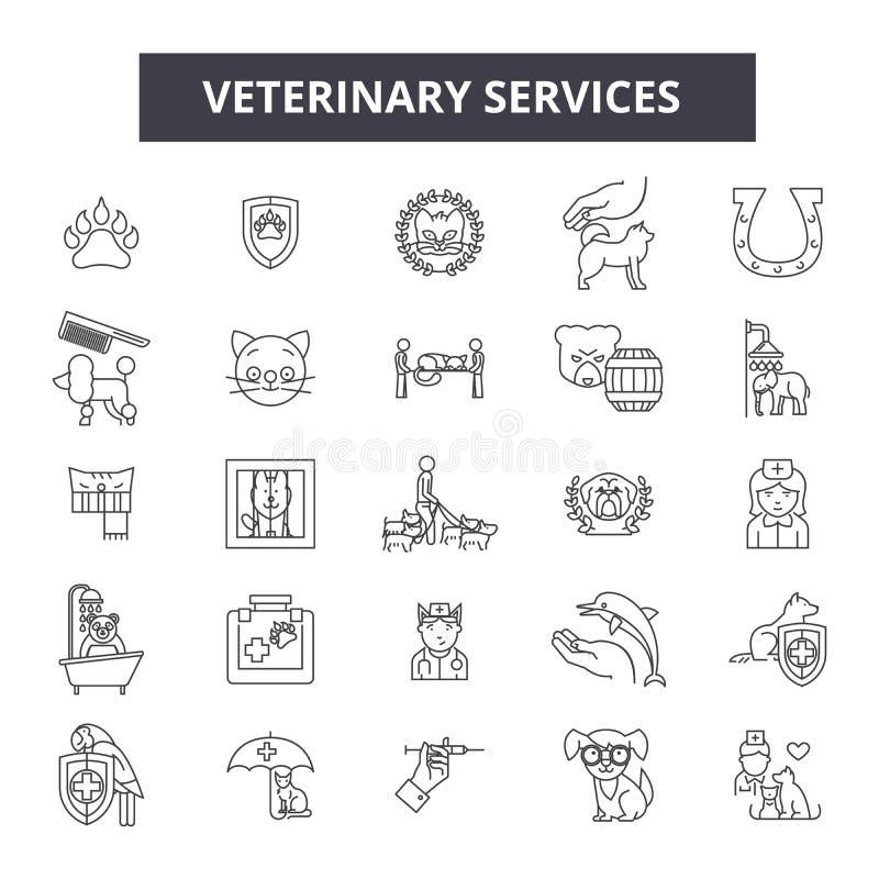 Los servicios veterinarios alinean los iconos, muestras, sistema del vector, concepto del ejemplo del esquema stock de ilustración