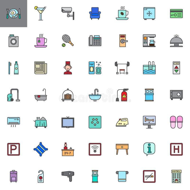 Los servicios y las instalaciones de hotel llenaron los iconos del esquema fijados stock de ilustración