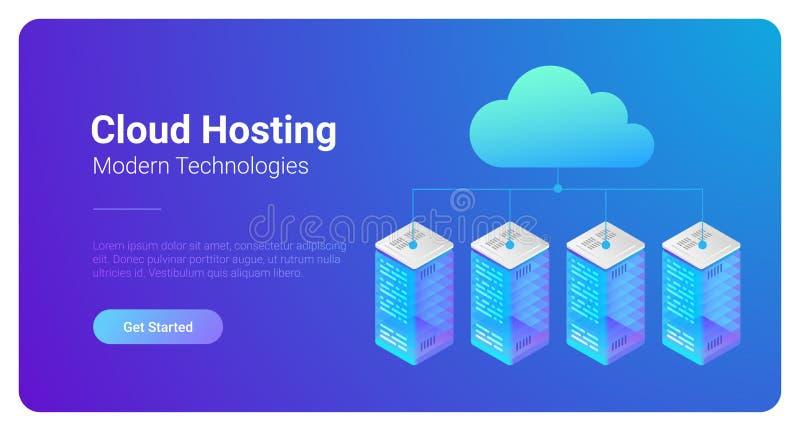 Los servidores de recibimiento planos isométricos de los datos conectaron con C stock de ilustración
