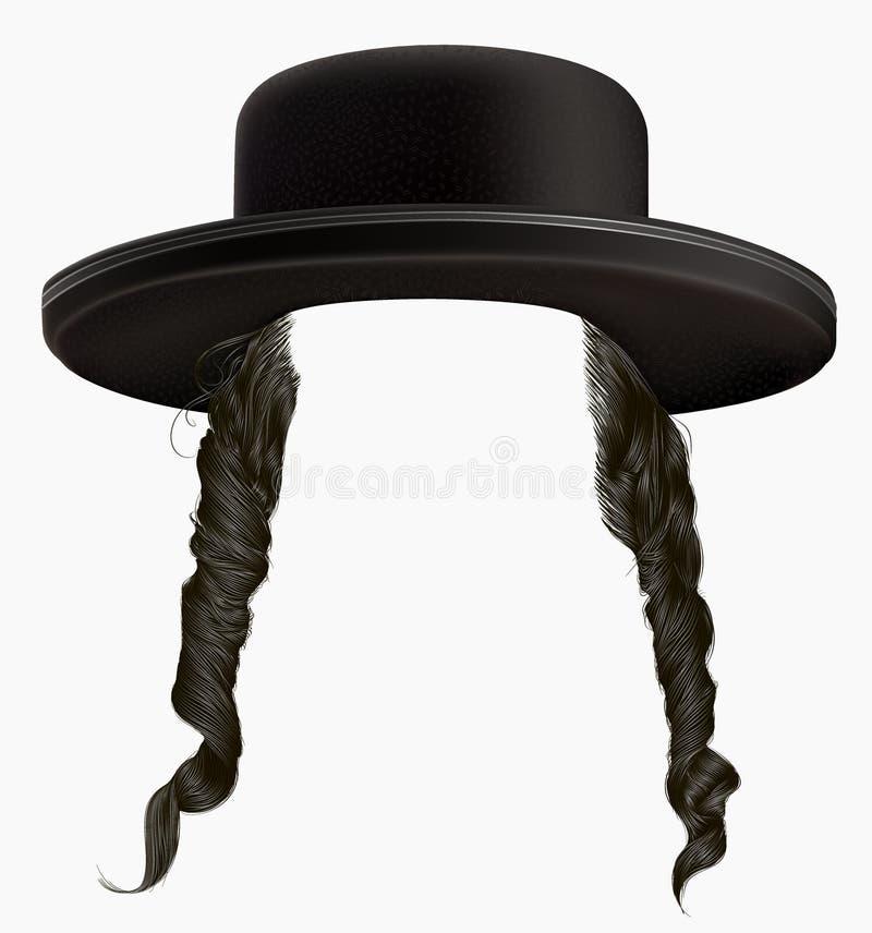 Los sidelocks del pelo negro enmascaran el hassid del judío de la peluca en sombrero fotografía de archivo libre de regalías
