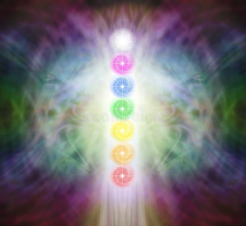 Los siete Chakra Vortexes en un campo de la energía de Pranic stock de ilustración
