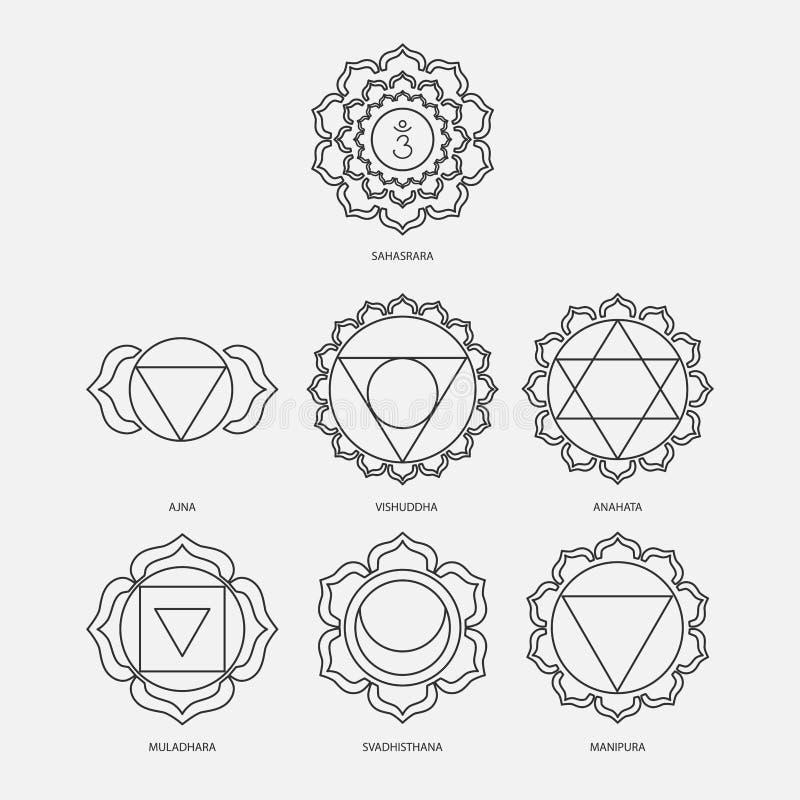 Los siete chakras con estilo determinado del vector de los mantras del bija se ennegrecen en el fondo blanco Ejemplo linear del c ilustración del vector