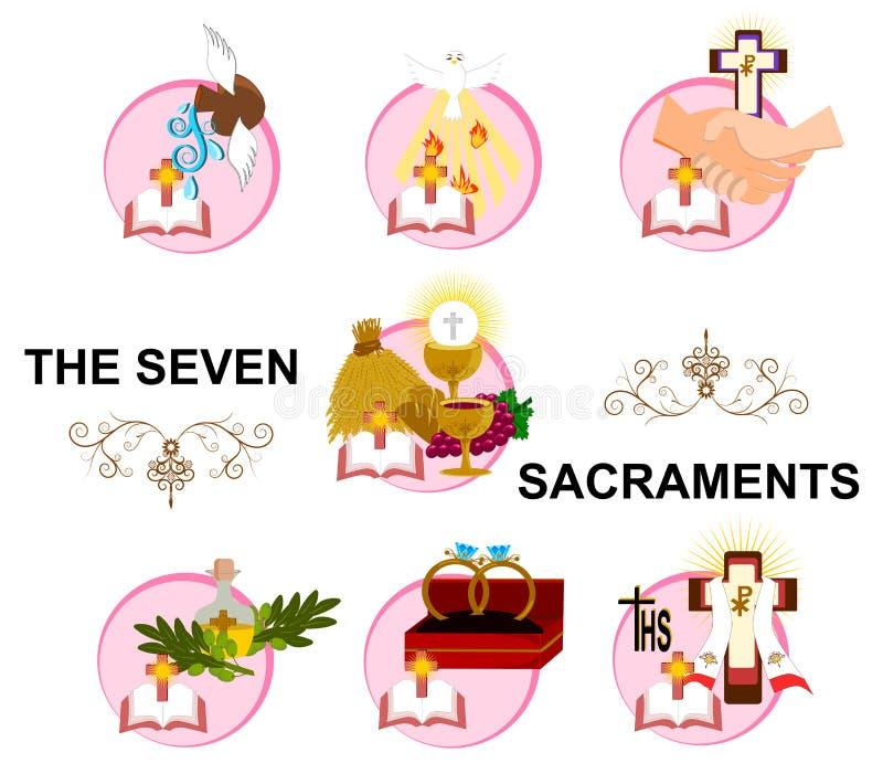 Los siete sacramentos ilustración del vector