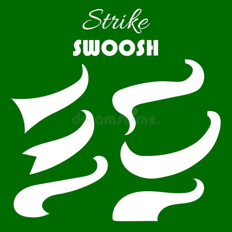 Los silbidos retros del vector, las colas chapoteantes del béisbol, los swooshes para la tipografía y el logotipo diseñan Icono d ilustración del vector