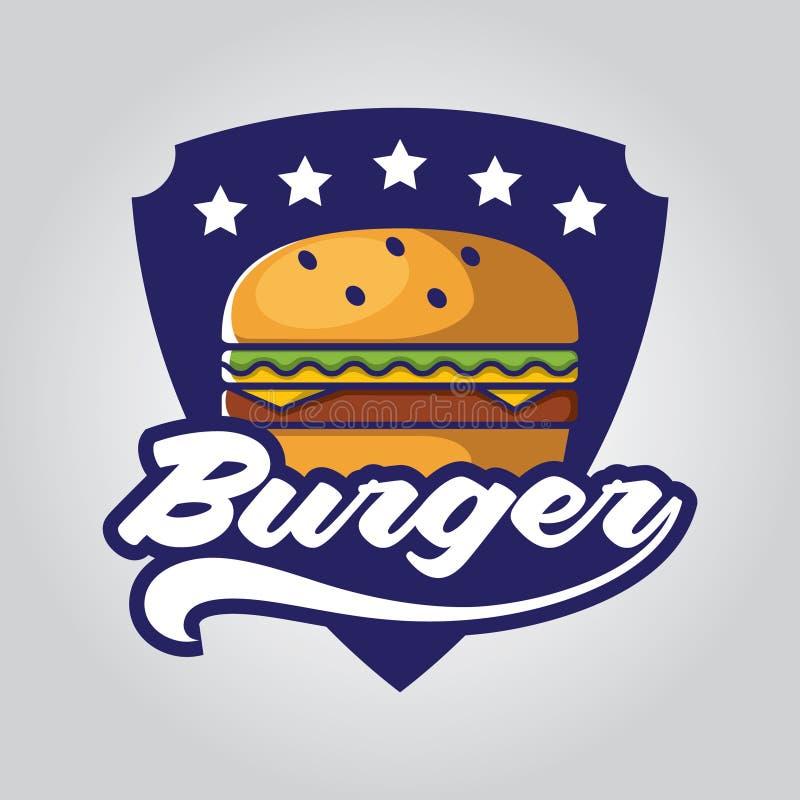Los sistemas del ejemplo del vector del logotipo del icono de la tienda de la hamburguesa diseñan stock de ilustración