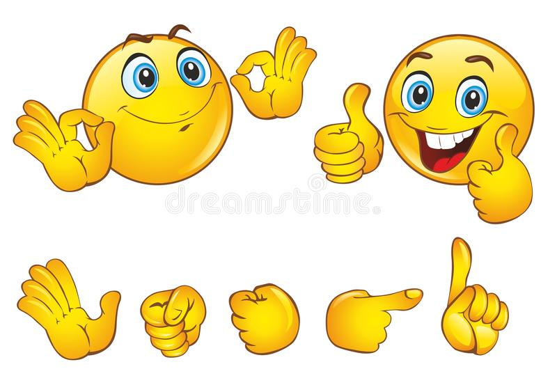 Los smiley hacen frente con emociones positivas libre illustration