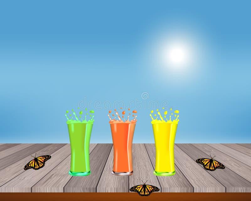 Los Smoothies, jugos, bebidas, beben variedad con las frutas frescas en una tabla de madera Ilustración del vector libre illustration