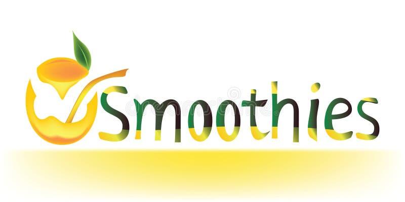 Los Smoothies redactan junto con un de cristal abstracto por completo del zumo de naranja stock de ilustración