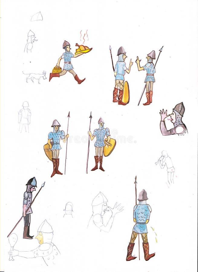 Los soldados medievales - dé el ejemplo de color exhausto, parte del sistema medieval de la serie stock de ilustración