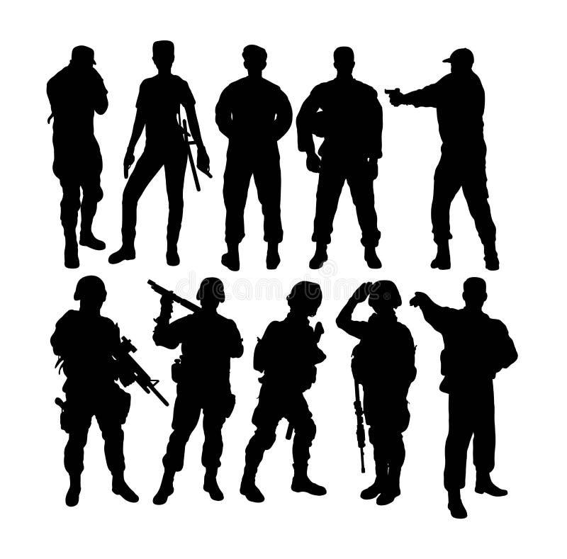 Los soldados siluetean, diseño del vector del arte ilustración del vector