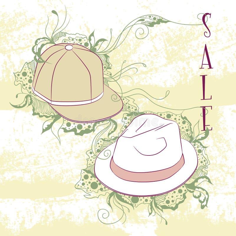 Los sombreros de la moda de los hombres decorativos del ejemplo ilustración del vector