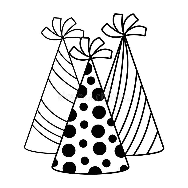 Los sombreros del feliz cumpleaños y de la celebración diseñan libre illustration