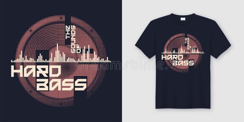 Los sonidos del diseño de moda bajo duro de la camiseta y de la ropa con s ilustración del vector