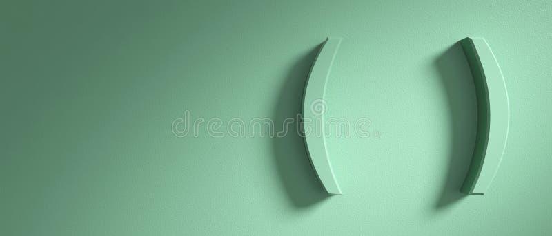 Los soportes de paréntesis marcan en el fondo verde de la pared, bandera, espacio de la copia ilustración 3D ilustración del vector