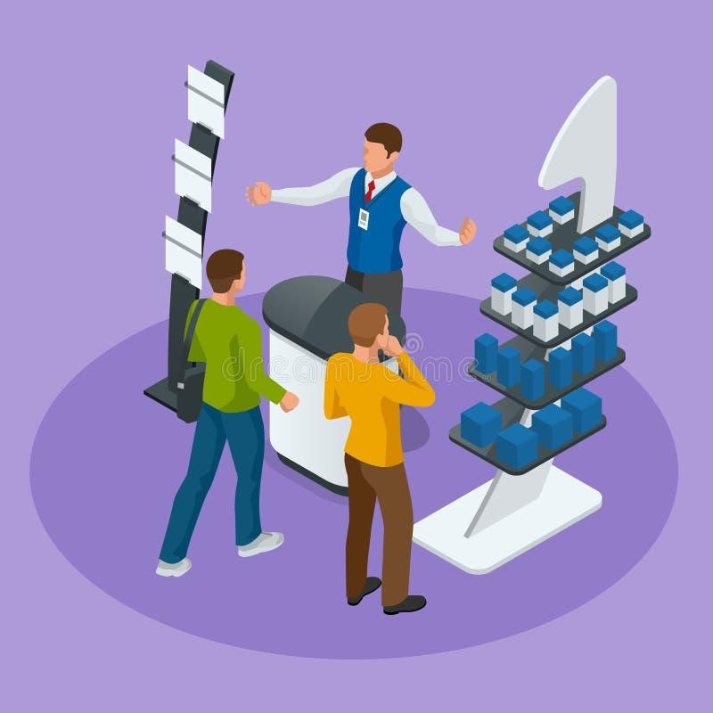 Los soportes o la exposición promocionales isométricos se coloca incluyendo estantes y gente de los escritorios de la exhibición  stock de ilustración