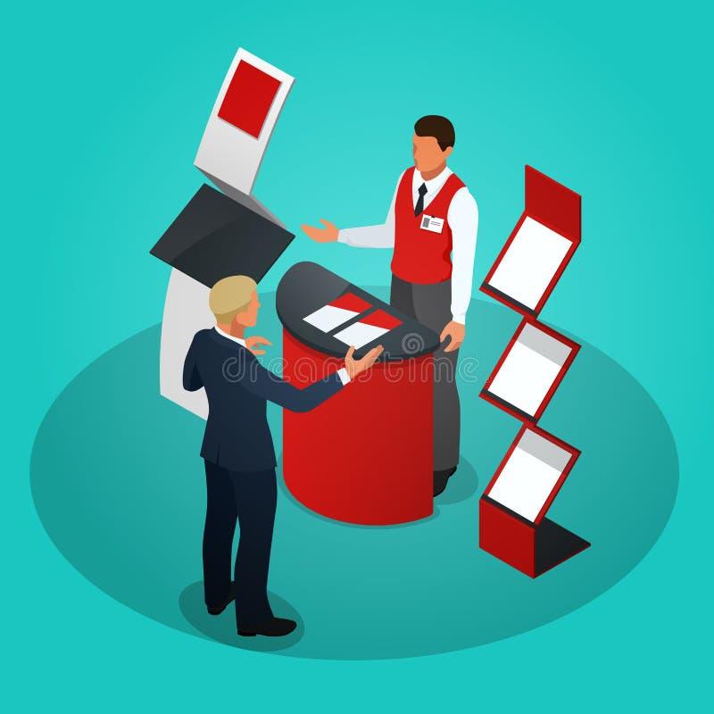 Los soportes o la exposición promocionales isométricos se coloca incluyendo estantes y gente de los escritorios de la exhibición  libre illustration