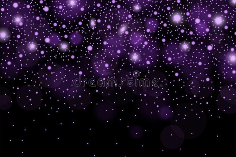 Los sparcles y las llamaradas violetas brillantes abstractos efectúan el modelo en fondo negro ilustración del vector